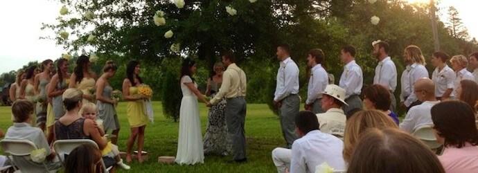 Beautiful summer wedding ceremony at Fury Water Adventure