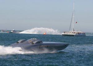 Speedboat in the water