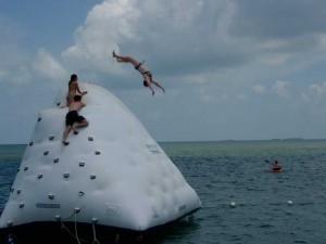 Flying off the iceberg.