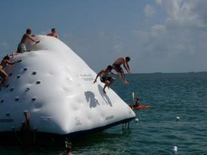 Synchronized dive off the iceberg.