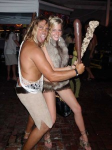 Scotty and Lisa as Caveman and Cavewoman.