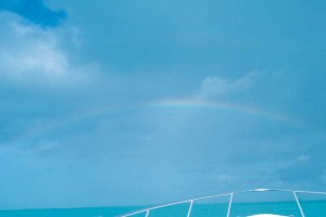A beautiful rainbow at the bow of the parasail boat.
