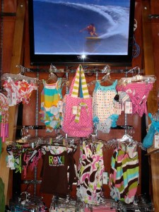 A line of kids swimsuits at the new store.