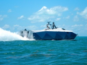 A stealth military vessel in Key West Harbor