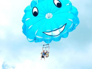 Fury's classic smiley face parasail