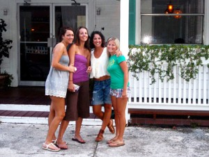 Ashley, Becky, Shayne, and Jill outside The Good Life.