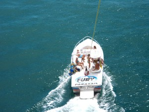 A bird's eye view of the parasail boat.