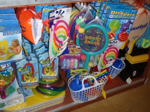 Beach toys at the Fury Surf Shack's kids store.