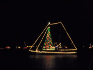 A festive schooner in the parade.