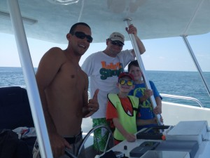 Father and Sons on Double Dip Snorkel Trip