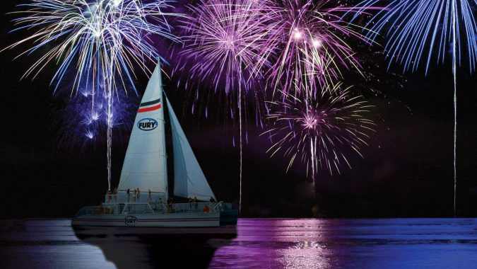 Image of Fury catamaran overlooking Key West fireworks