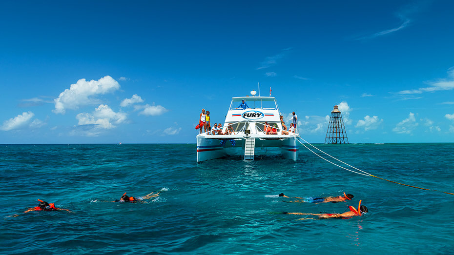 Image of couple snorkeling the reef in Key West