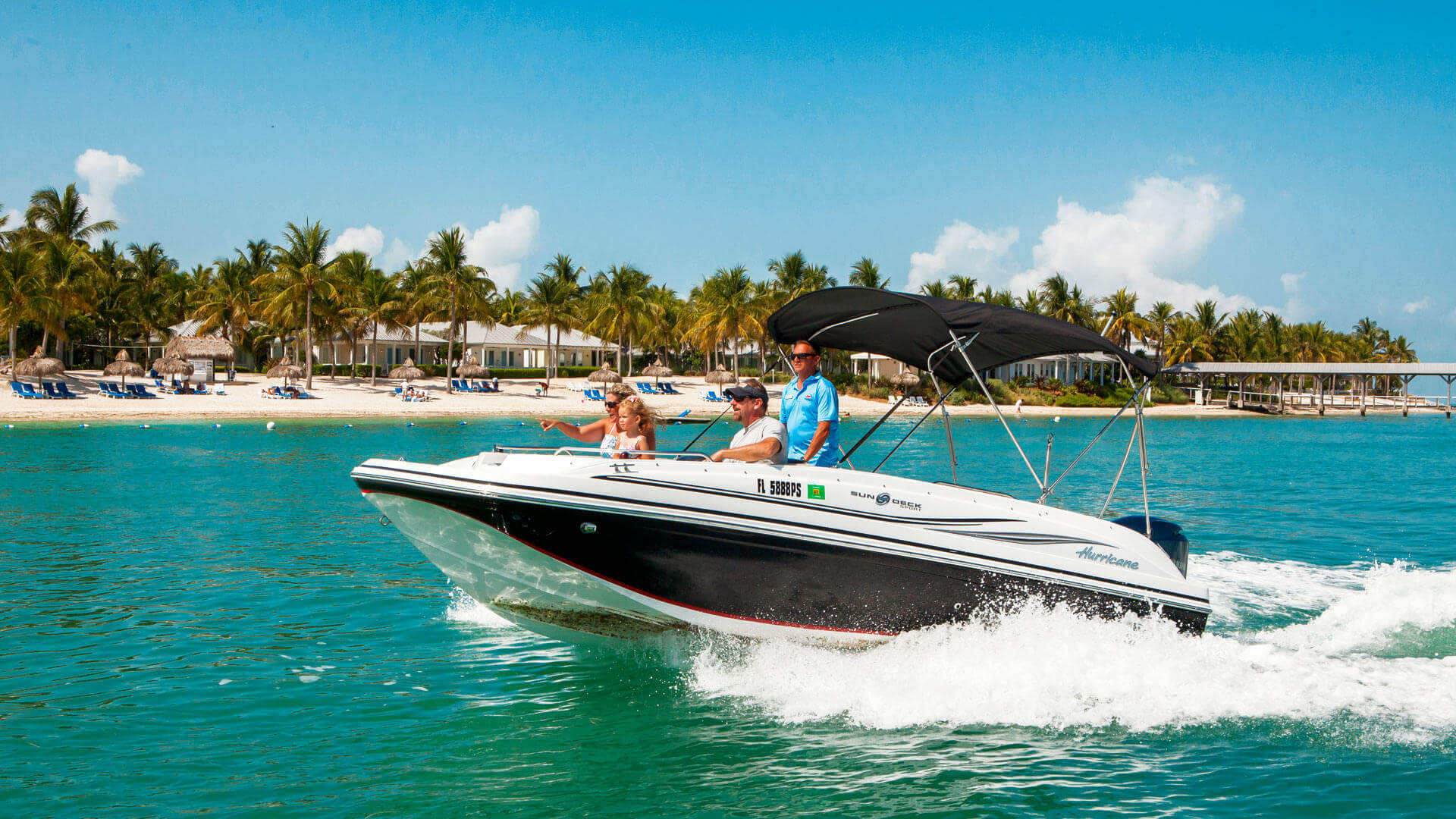 Image of family on a Key West boat rental
