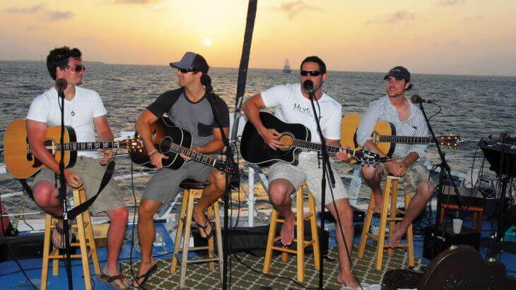 Image of band playing on sunset cruise in Key West