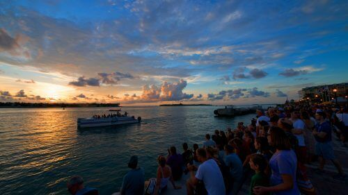 Image of Fury boat and Key West sunset