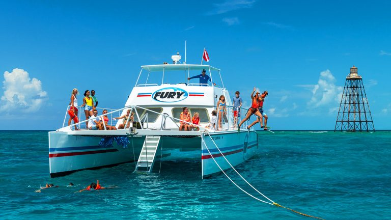 snorkelers jumping off the side of the reef express catamaran into the key west water
