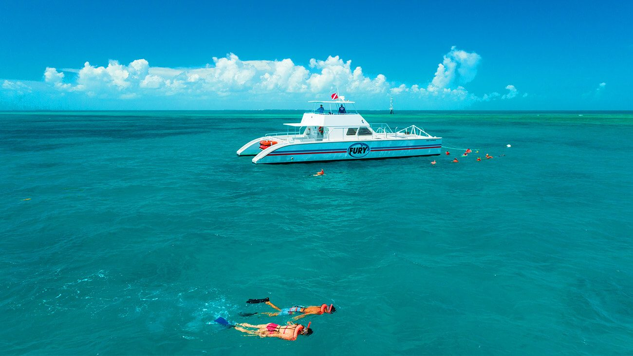 people snorkeling in the key west water with the fury reef express catamaran in the background