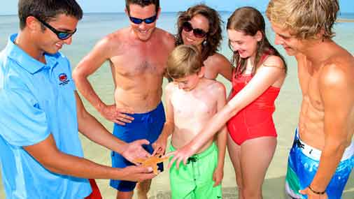 Image of family observing starfish in Key West