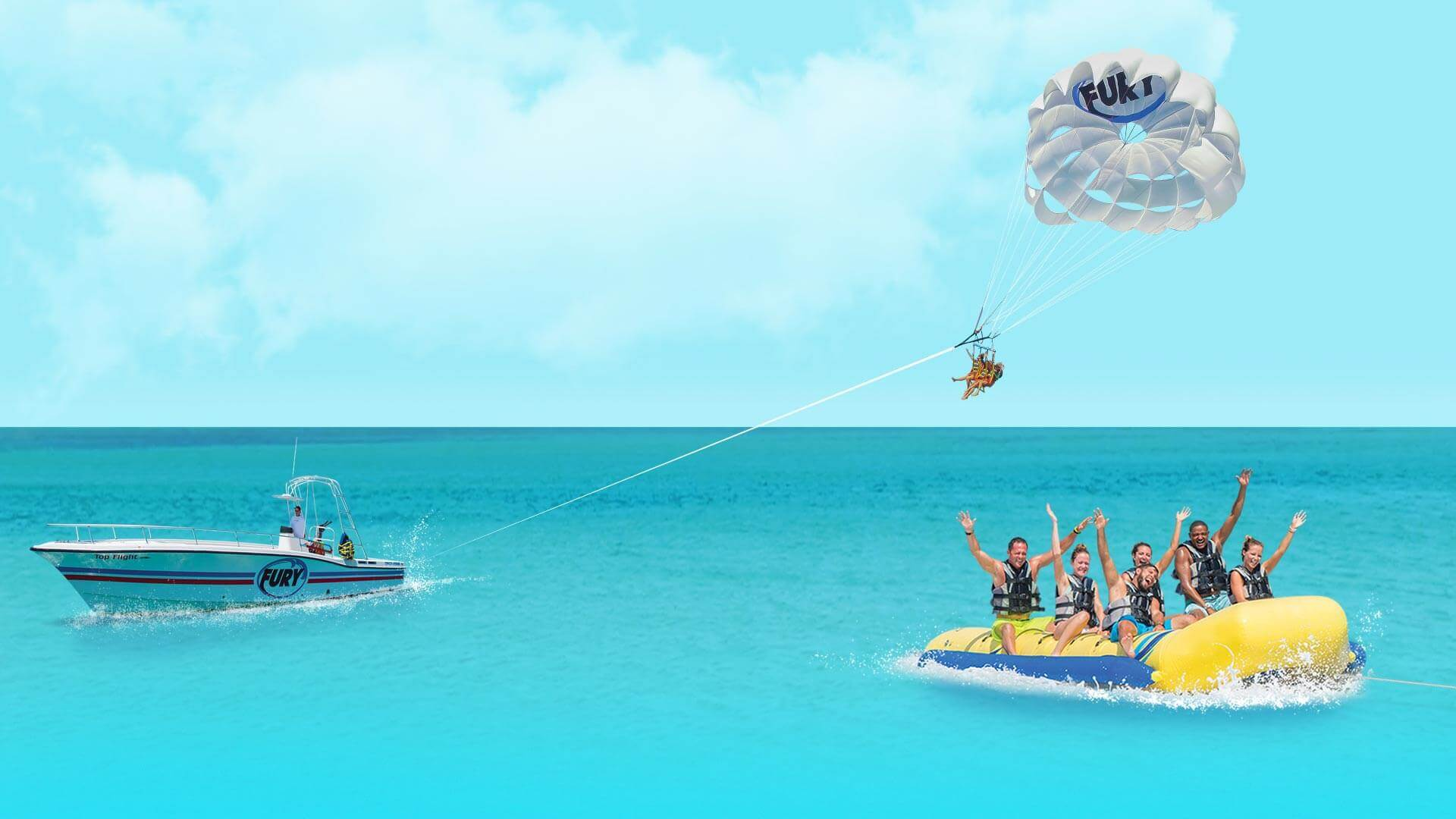Banana boat and parasail in Key West
