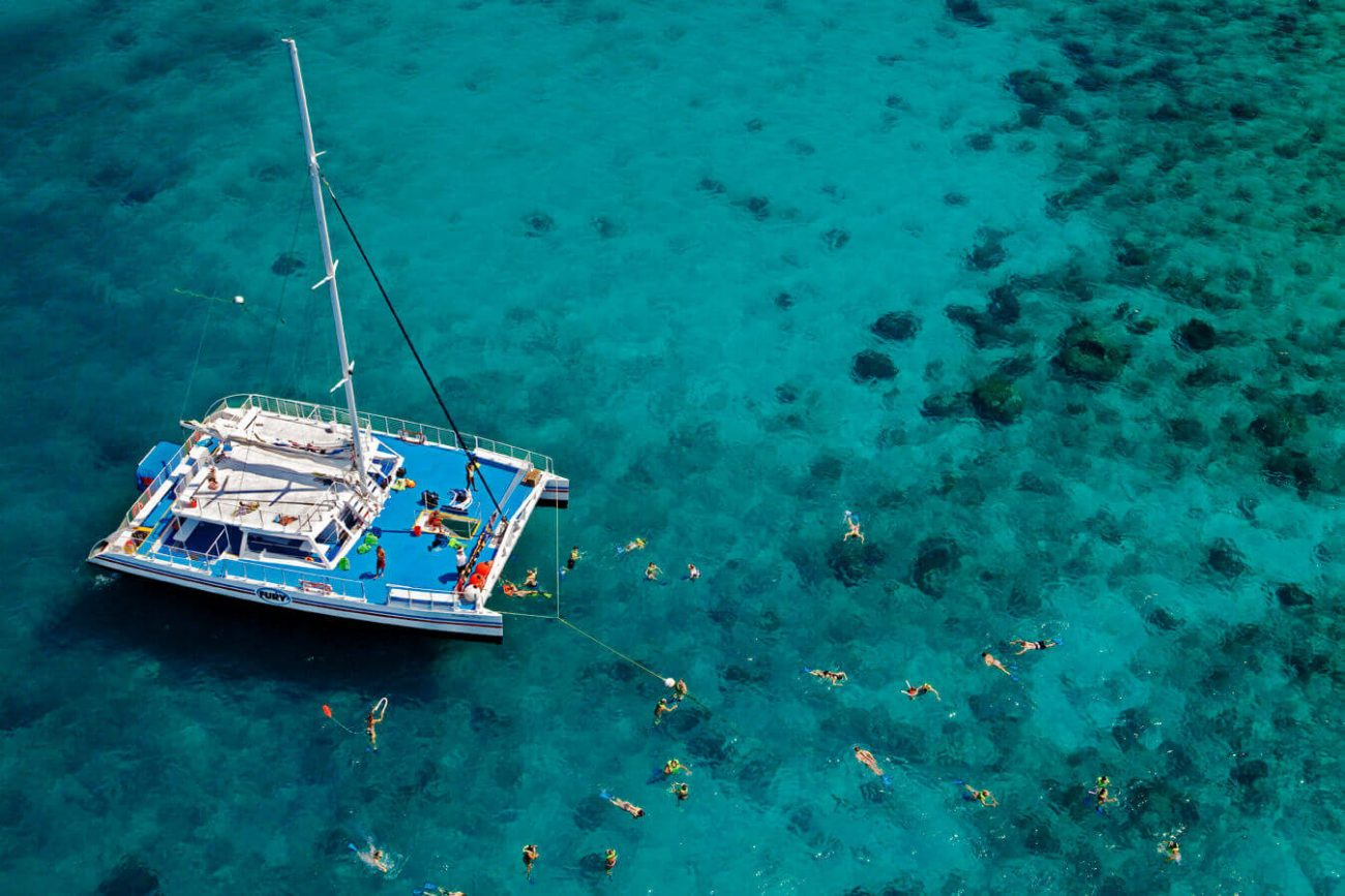 Fury Catamaran overhead view with snorkelers