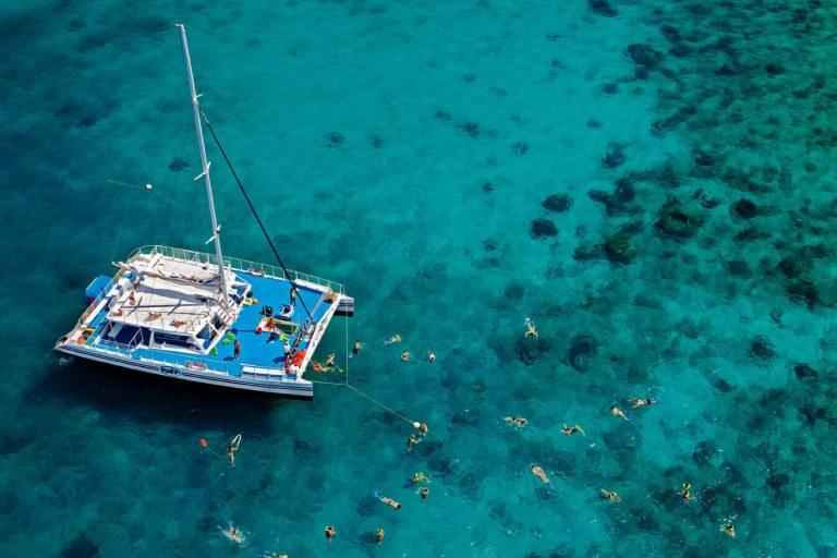 Fury Catamaran overhead view with snorkelers