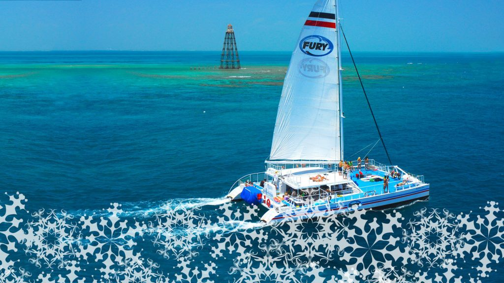 Fury catamaran, part of the Christmas Ultimate Adventure package, sailing through the waters of Key West