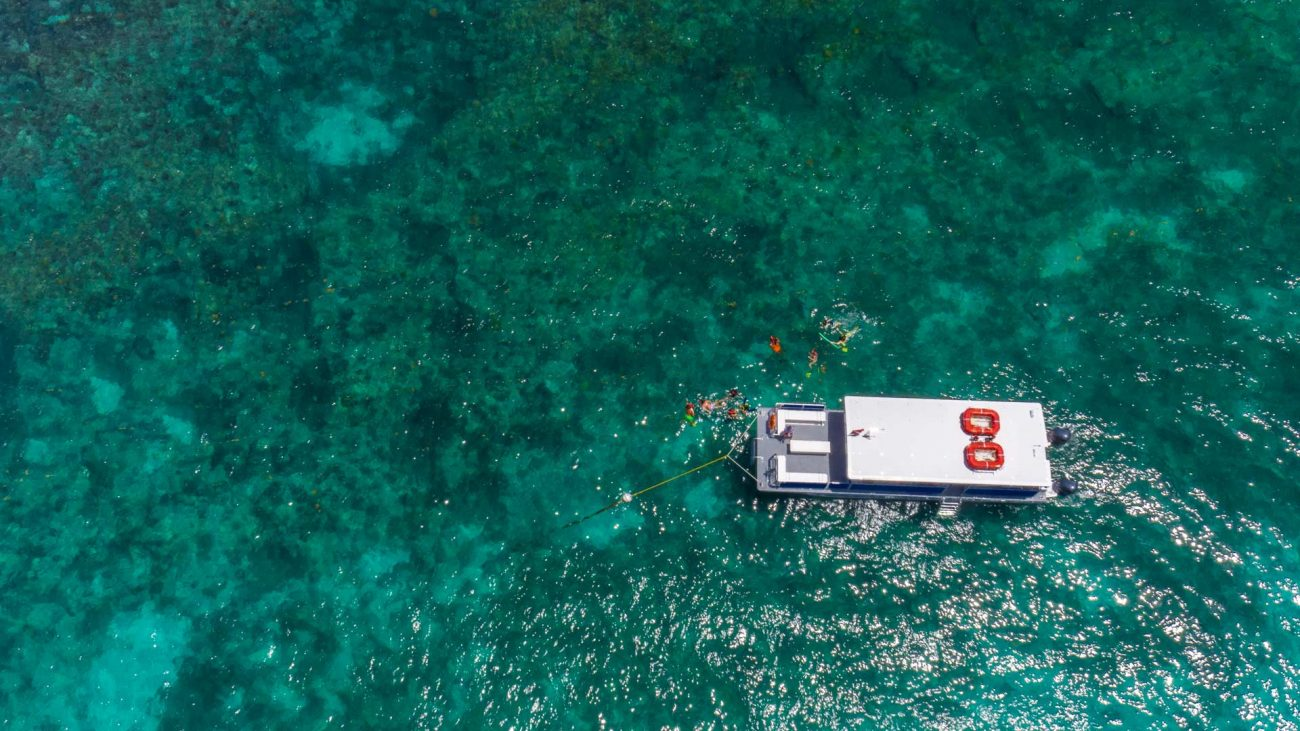 aerial view of a Fury catamaran surrounded by the ocean and reef. The catamaran is tied to a buoy and around it are guests snorkeling.