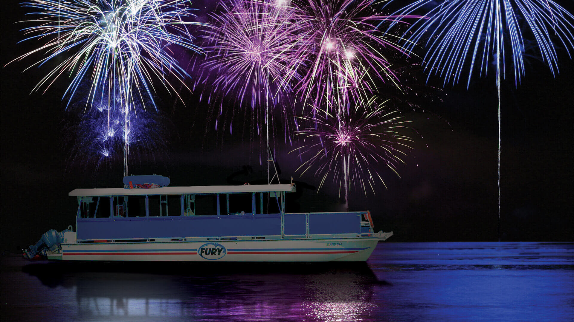 Fireworks over a boat