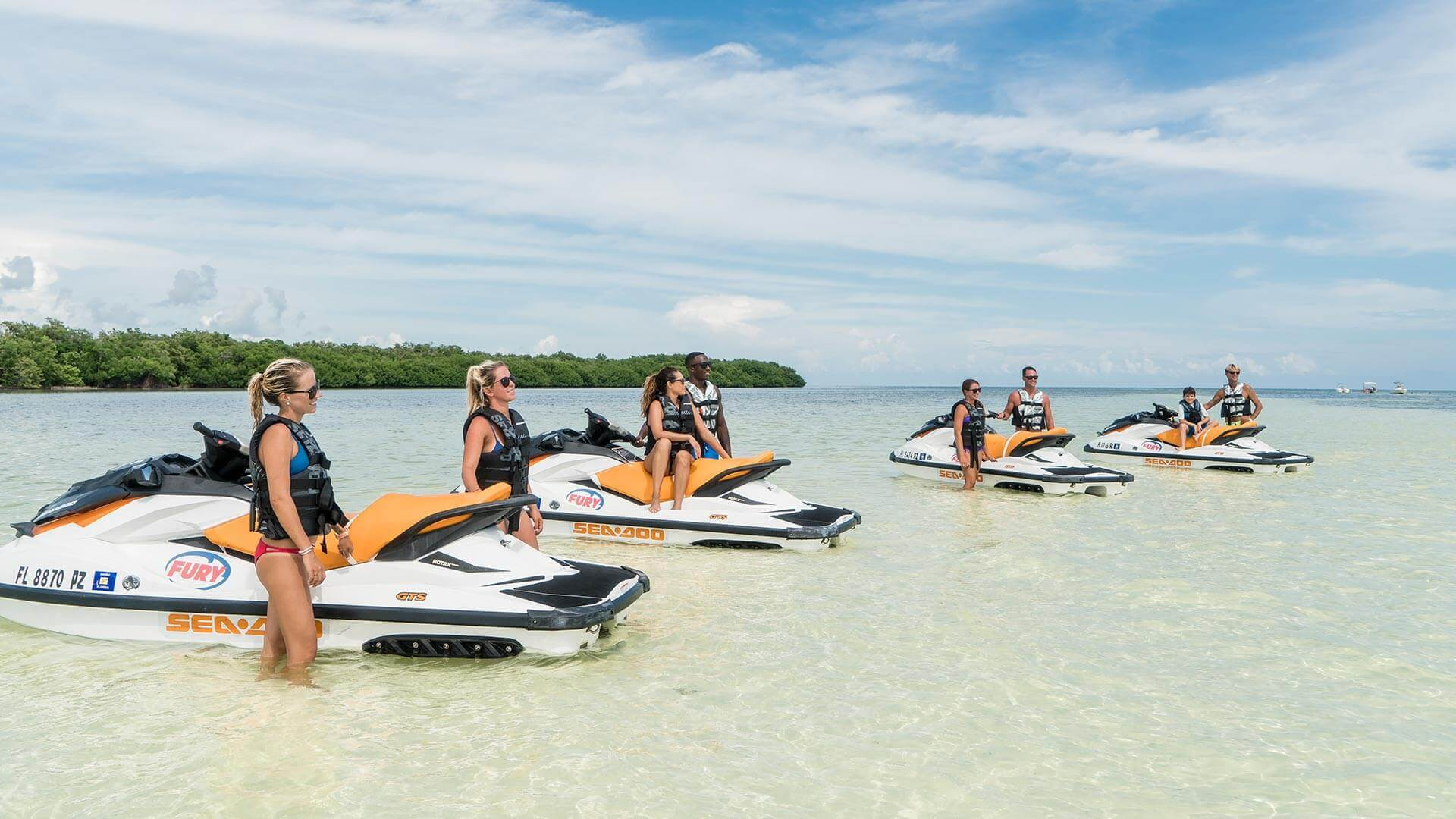 People making a stop during the Fury Jet Ski Tour in Key West