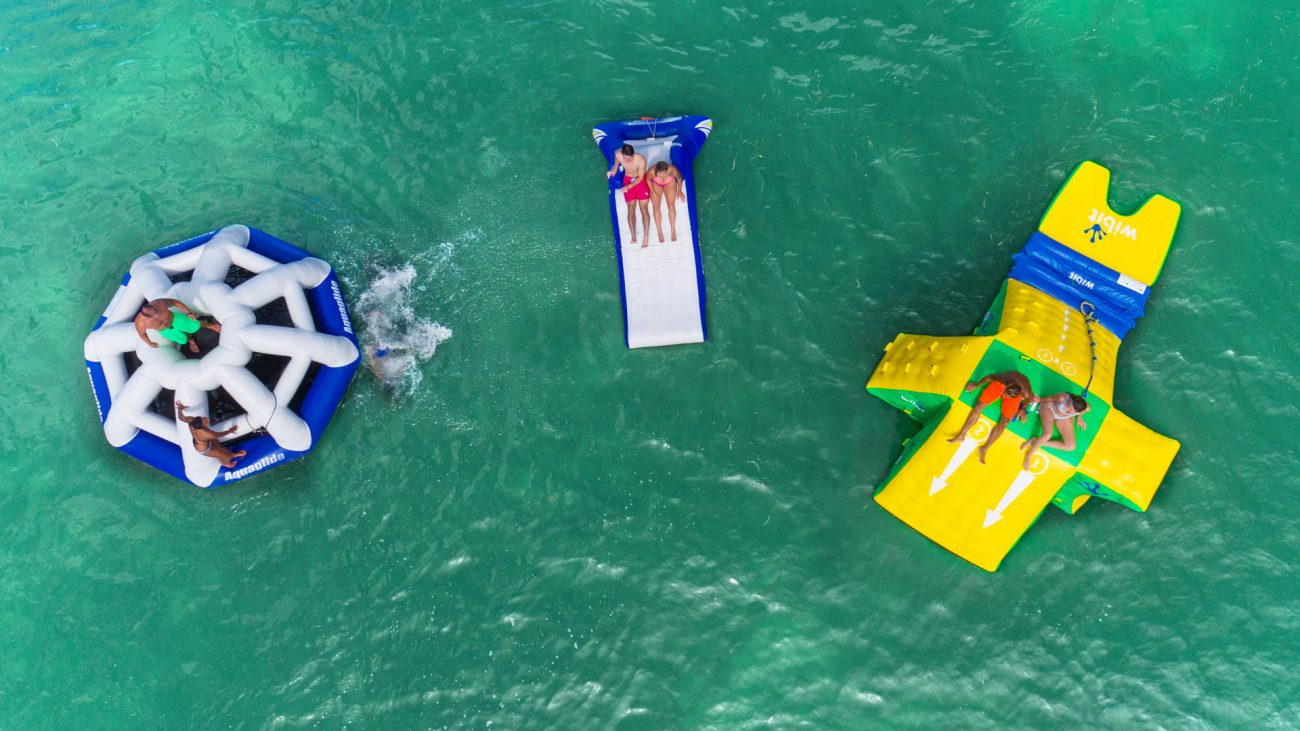 Aerial view of people enjoying Fury's ultimate express water toys