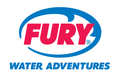 Fury logo made up of an oval shaped wave and the word 'FURY' inside of it. Below are the words 'WATER ADVENTURES'.
