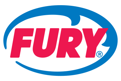 Fury logo made up of an oval shaped wave and the word 'FURY' inside of it