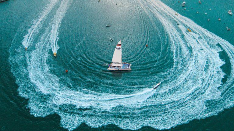 Speedboats racing through the ocean