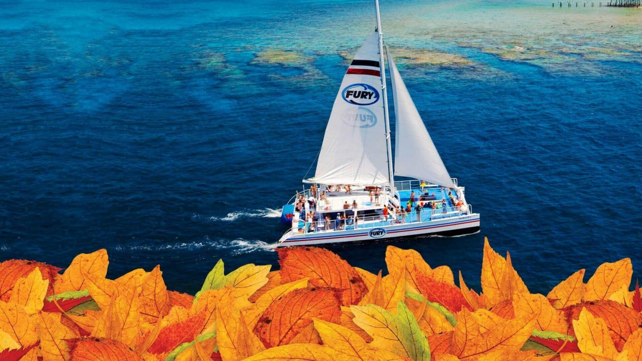 Thanksgiving sailboat on the ocean