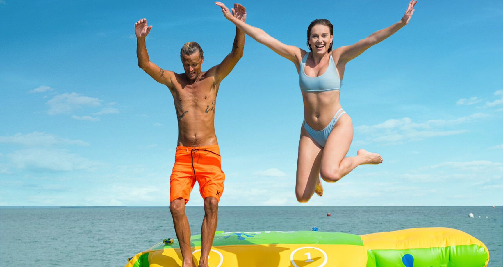 """""""Things to do in Key West in April"""" couple jumping from water park"""