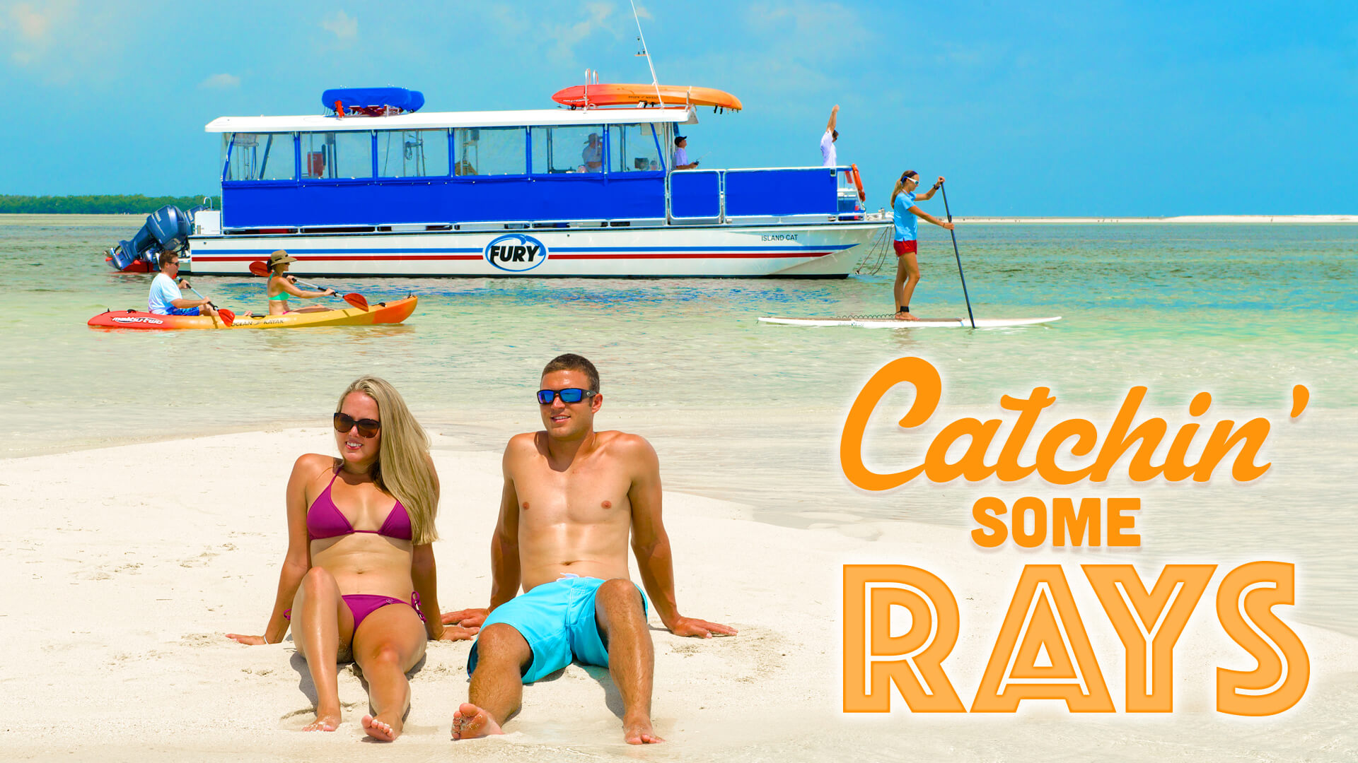"""A couple sitting on Key West Beach enjoying a trip with Fury. With a title that reads """"Catchin' some rays"""""""
