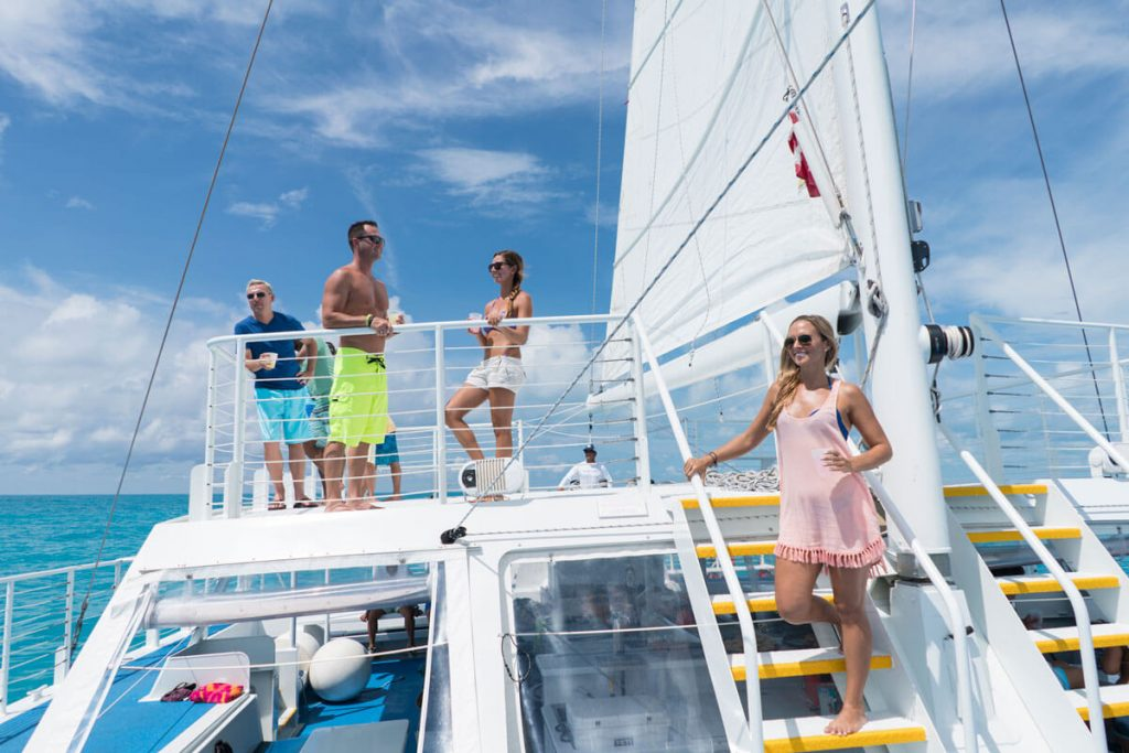 Guests aboard Fury Water Adventures Catamaran