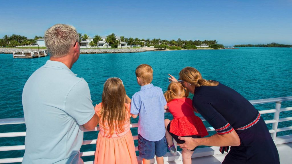 Image of people viewing the coral reef on a Glass Bottom Boat Tour