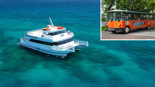 Image of Fury Glass Bottom Boat and Old Town Trolley in Key West