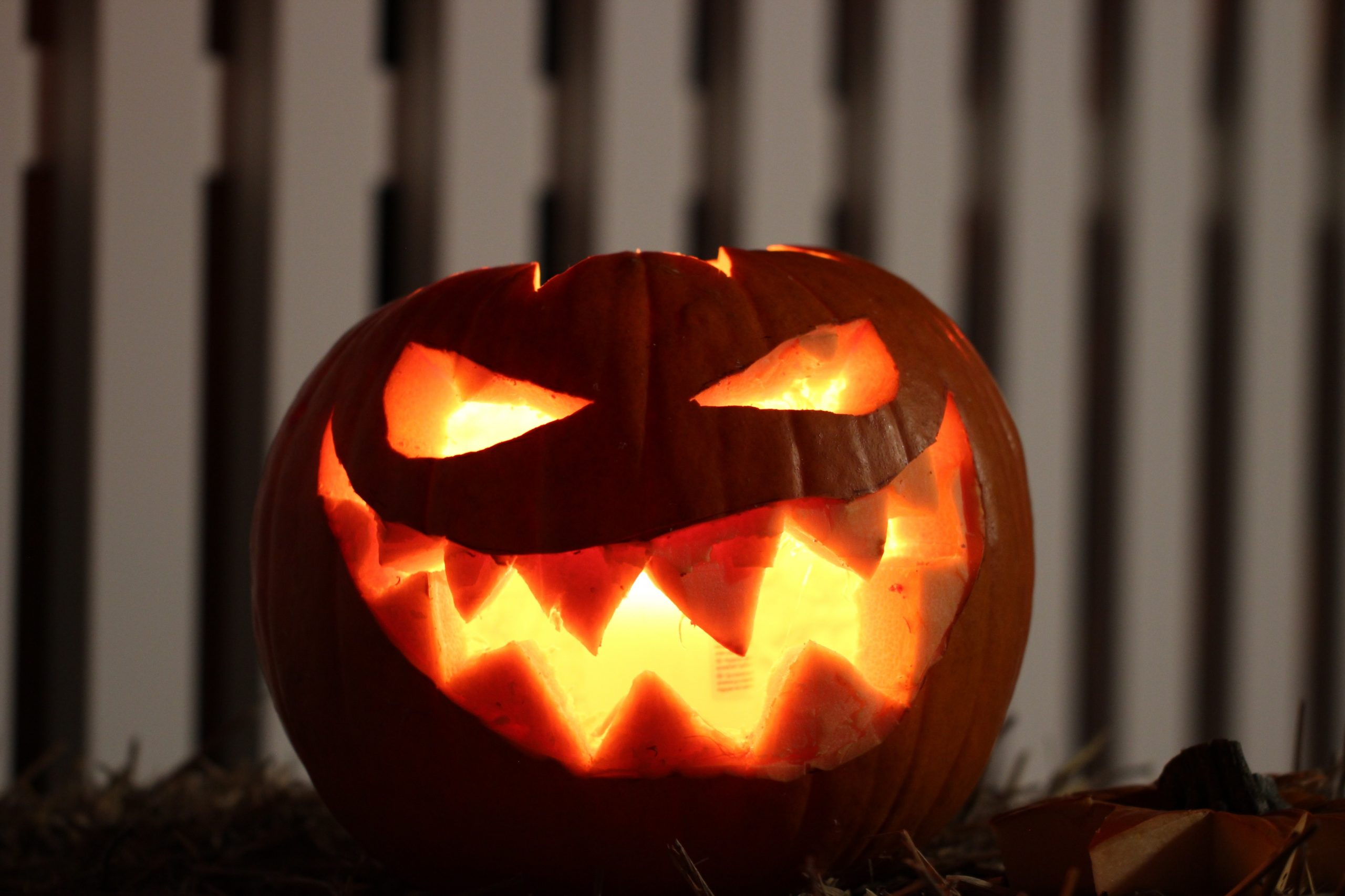 Carved Jack-O-Lantern smiling with candle inside sitting on the sidewalk in front of a white fence.