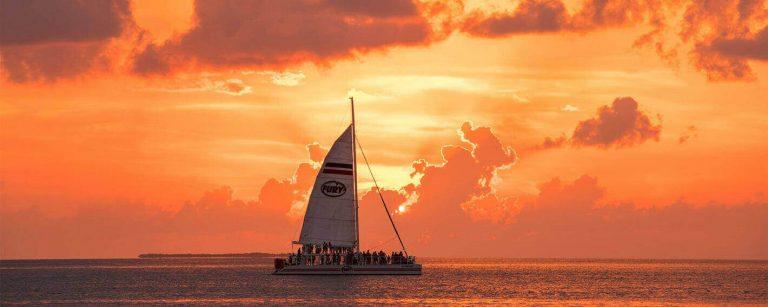 Fury Catamaran on the water during a beautiful sunset cruise