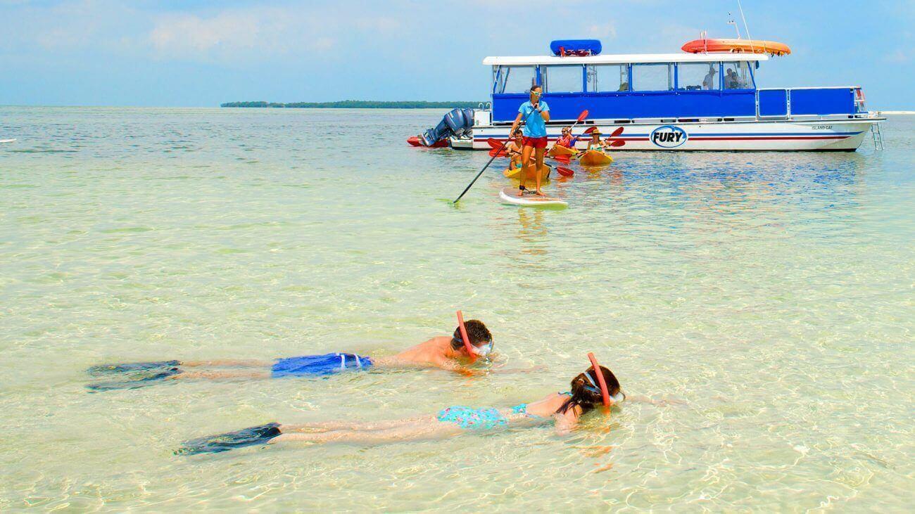 People snorkeling and kayaking in Key West