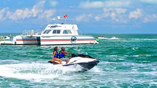Image of couple riding a jet ski in Key West