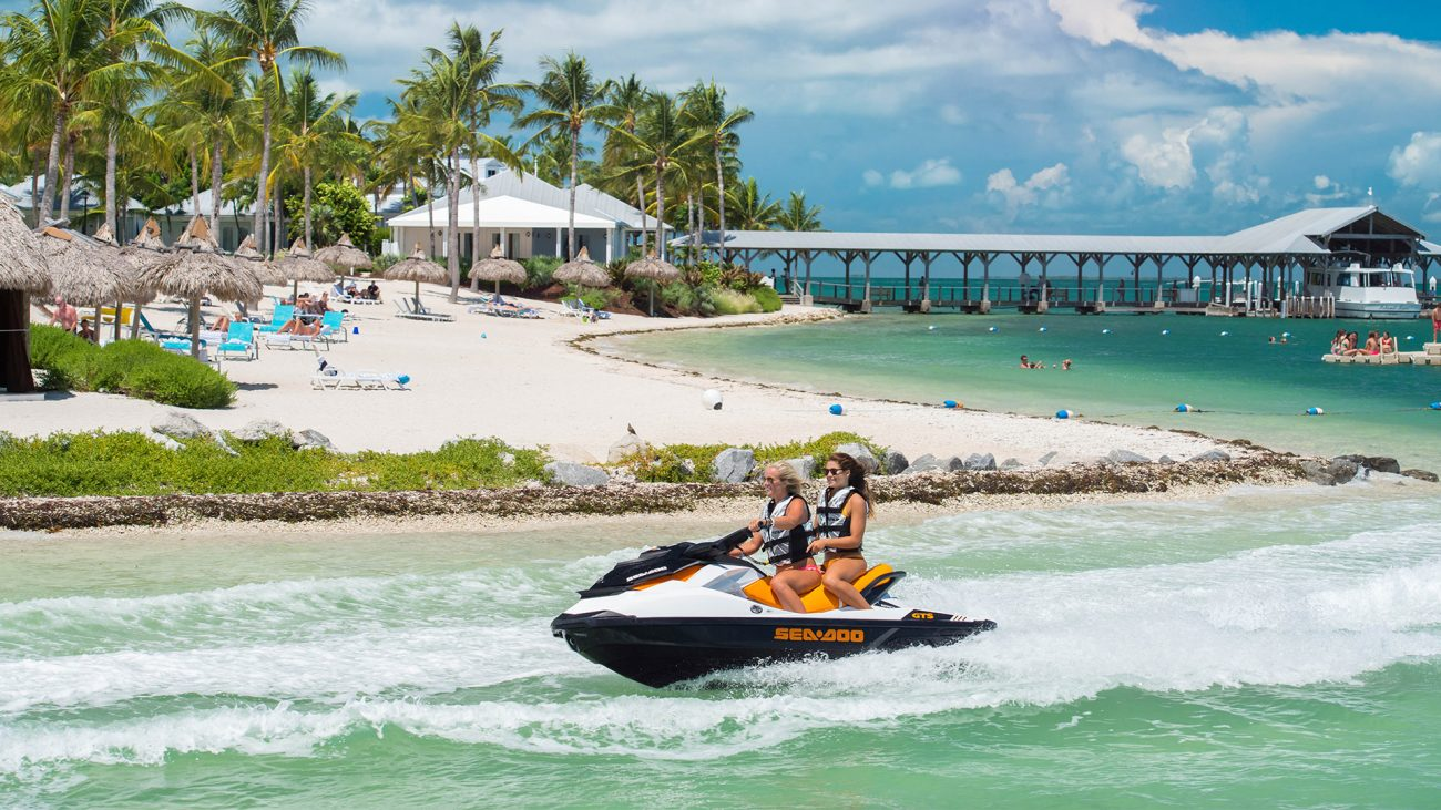 A couple of friends on their jet ski in Key West