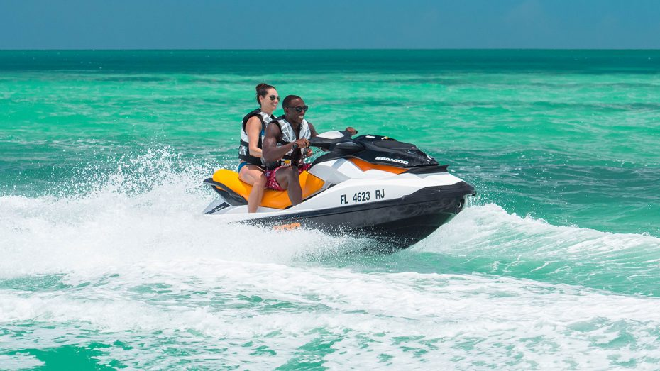 two people on a jet ski
