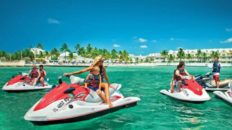 Group of people enjoying a jet ski tour in Key West
