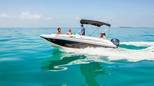 Tourists onboard a boat rental in Key West