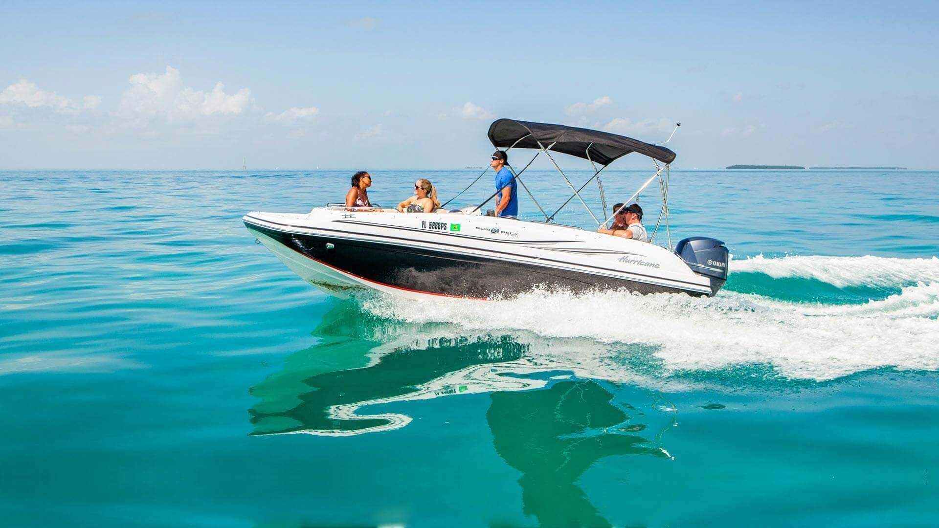 Tourists onboard a boat rental in Key West