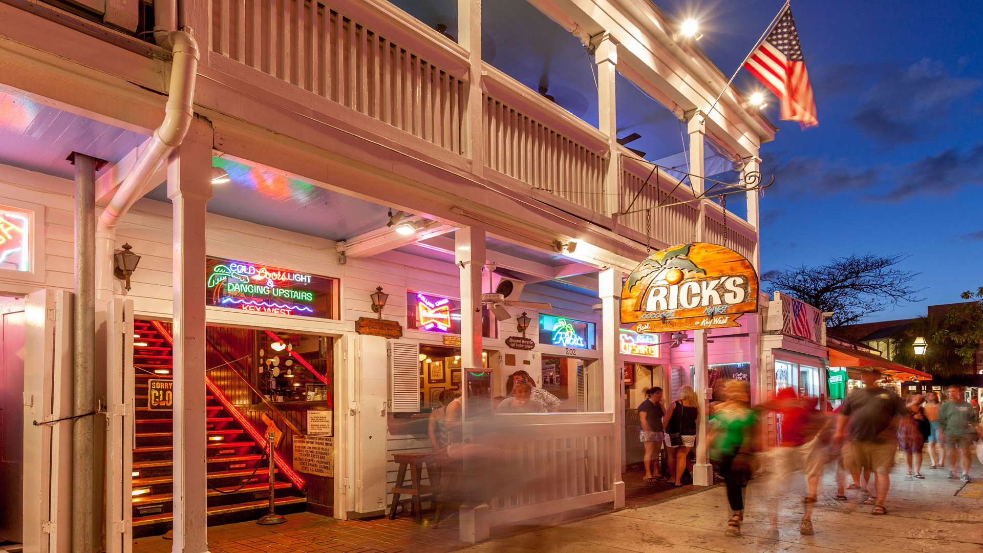 Durty Harry's at night in Key West
