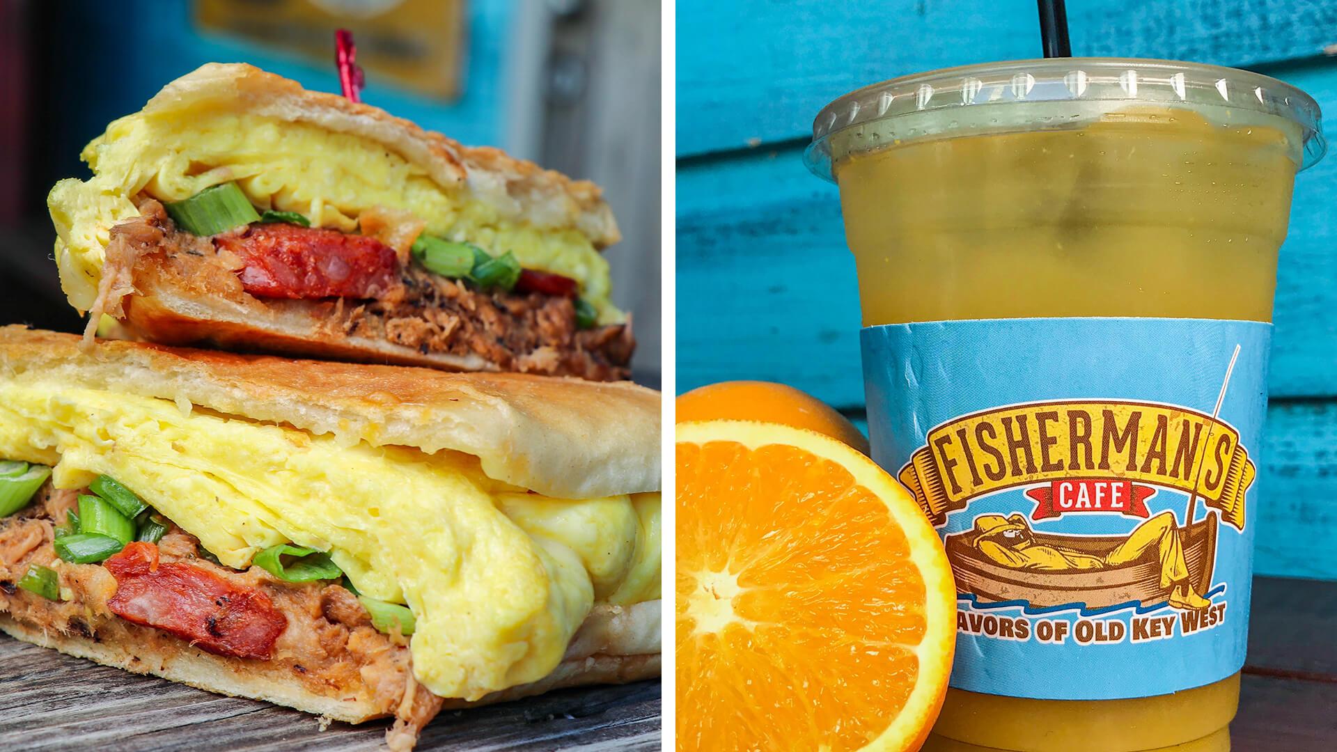 orange juice and cuban breakfast sandwich from Fisherman's Cafe in key west